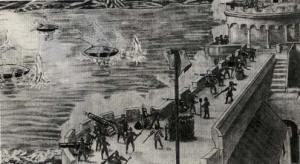 """Un presunto """"contatto del terzo tipo"""" tra Genova e Nizza, nel 1608. Un'illustrazione dell'evento"""