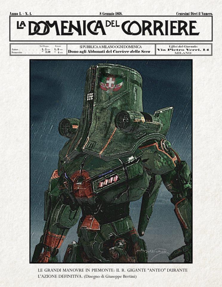 """Concept Art de """"I Robot di La Marmora"""", realizzata da Alessio Lucilli."""
