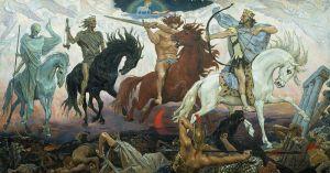 Four Horsemen of Apocalypse, by Viktor Vasnetsov. Painted in 1887.