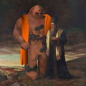 Prague Golem with rabbi Low.