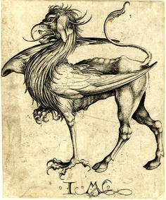 Martin Schongauer - The Griffin, etching, 15th century.