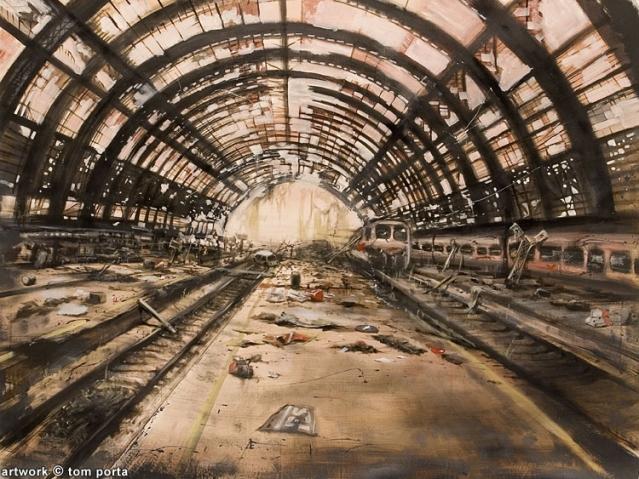 Stazione Centrale di Milano in versione post-apocalittica (dipinto di Tom Porta).